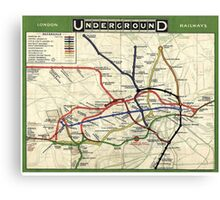 Tube, map, 1908, London, Underground, Historic Canvas Print