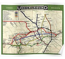 Tube, map, 1908, London, Underground, Historic Poster