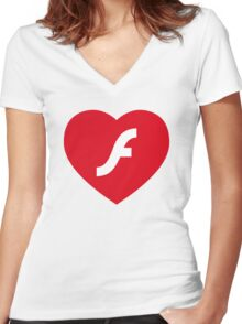 Flash Love Women's Fitted V-Neck T-Shirt