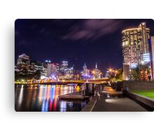 Melbourne's Yarra River at Night #1 Canvas Print