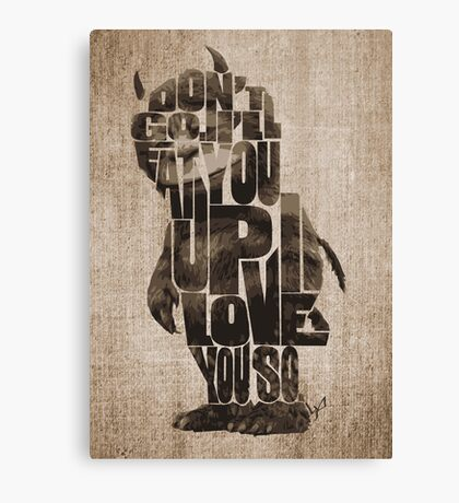 Where The Wild Things Are Typography Canvas Print