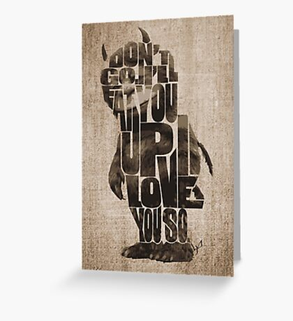 Where The Wild Things Are Typography Greeting Card