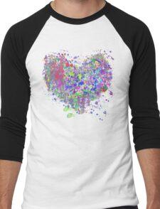 Paint splatter heart Men's Baseball ¾ T-Shirt