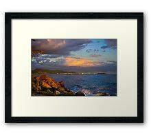 Sunset city view Honolulu Oahu Hawaii Framed Print