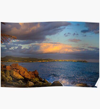 Sunset city view Honolulu Oahu Hawaii Poster