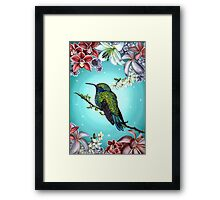Junebug Green Hummingbird with Jasmine Orchids Flowers Framed Print