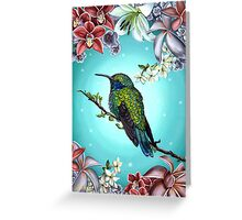 Junebug Green Hummingbird with Jasmine Orchids Flowers Greeting Card
