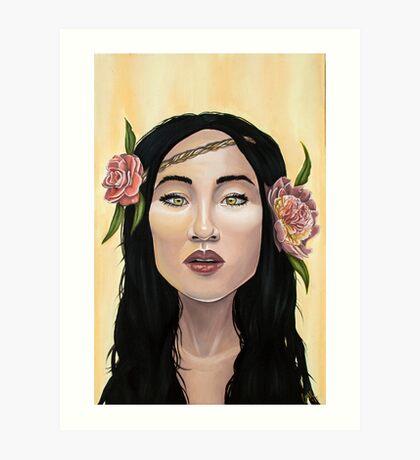 Brave Girl with Yellow Eyes Flower Headband Art Print