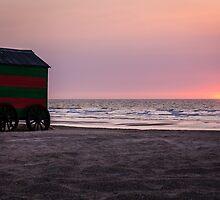 Beach Sunset, De Panne by Mandy  Harvey