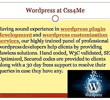 Wordpress services at Css4me by css4me123