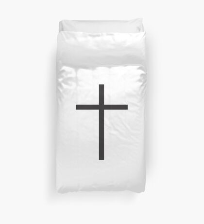 Cross, Christian, Crucifix, Crucifixion, Christ, Christianity, Jesus, Lord, Saviour, Bible, Biblical, Black Duvet Cover