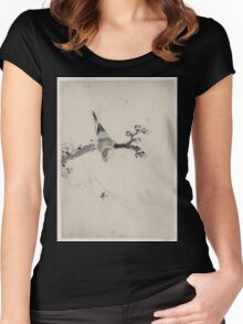 A bird perched on a tree branch with blossoms watching a spider on a web 001 Women's Fitted Scoop T-Shirt