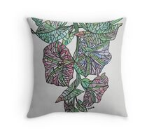 Vintage Style Stained Glass Morning Glory Throw Pillow