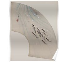 Fan shaped drawing of fish swimming upstream 001 Poster