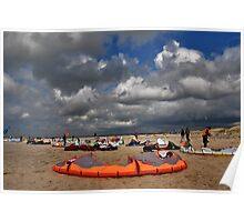 Kites on the beach Poster