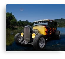 Flaming Model A Ford Canvas Print