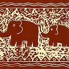 Elephant and Calf Lino (brown) by Julie Nicholls