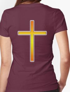 Cross, Christian, Crucifix, Christianity, Jesus, Lord, Gold on Purple T-Shirt