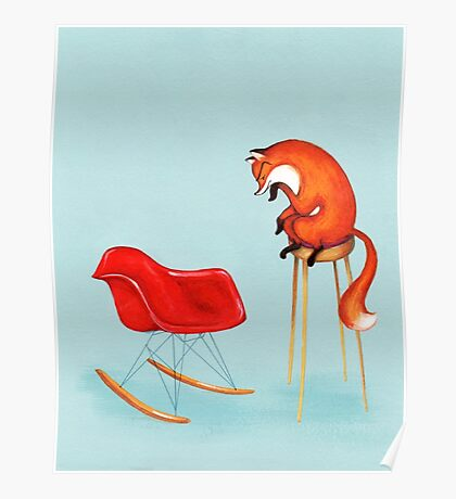 Fox Perplexed by Modern Furniture Poster