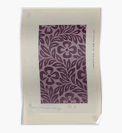 Textile design with flower motif 001 Poster