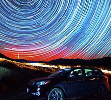 Death Valley Aurora Star Trails Over Car by Gavin Heffernan