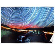 Death Valley Aurora Star Trails Over Car Poster