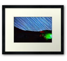Galaxy Star Trails Streak Over Green Tent Framed Print