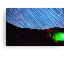 Galaxy Star Trails Streak Over Green Tent Canvas Print