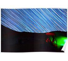 Galaxy Star Trails Streak Over Green Tent Poster