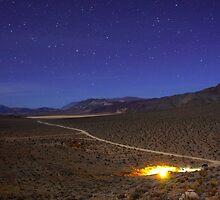 Overhead Death Valley Desert Lit by Moonlight and Stars by Gavin Heffernan