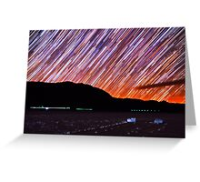 Star Trails Over Death Valley Racetrack Playa Greeting Card