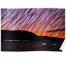 Star Trails Over Death Valley Racetrack Playa Poster