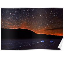 Starscape over Death Valley Sliding Stones Poster