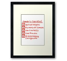 Gamer Checklist Framed Print