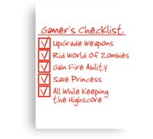 Gamer Checklist Canvas Print