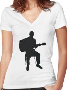 Guitar Man Women's Fitted V-Neck T-Shirt