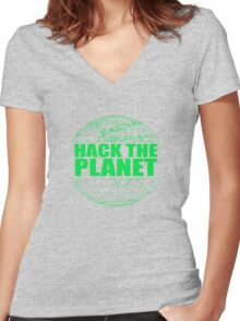 Hack The Planet Women's Fitted V-Neck T-Shirt