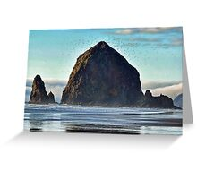 haystack rock, early spring Greeting Card