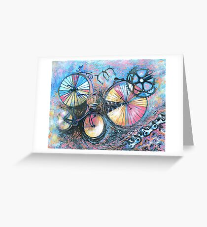 Acrylic painting, Bicycles abstract art Greeting Card