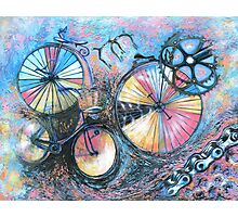 Acrylic painting, Bicycles abstract art Photographic Print