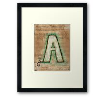 The Letter A - Watercolor Framed Print