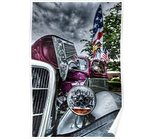 HDR - Classic Car and Flag under Stormy Sky Poster