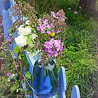 The Blue Glass Vase in the Garden by TrendleEllwood