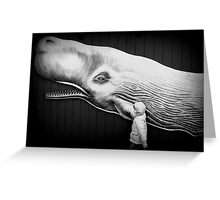 black and white with whale Greeting Card
