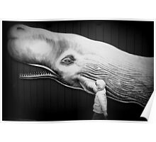 black and white with whale Poster