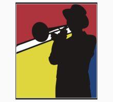 Silhouette trombone player, mondrian colours Baby Tee