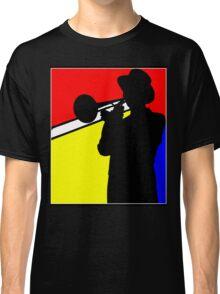 Silhouette trombone player, mondrian colours Classic T-Shirt