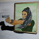 Tomb Rider Lara Croft Angelina Jolie 3D 3 dimensional oil painting on canvas by addicted2joy