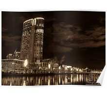 Along The Banks Of The Yarra River - Crown Casino (Sepia) Poster