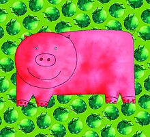 Pig with Green Apples by Julie Nicholls